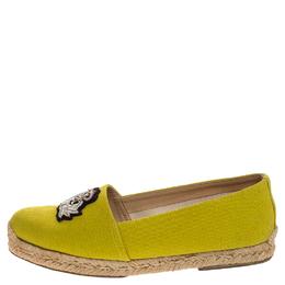 Christian Louboutin Yellow Canvas Nanou Crest Espadrilles Size 38 247267