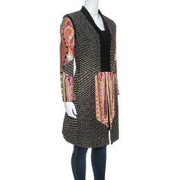 Etro Black Printed Textured Silk Long Sleeve Coat L 248908