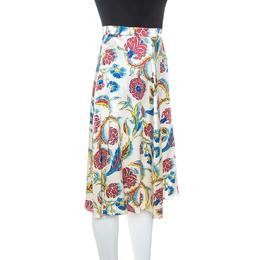 Celine Multicolor Printed Silk A-Line Skirt S 247795