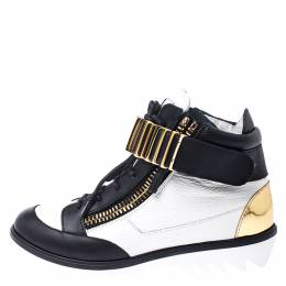 Giuseppe Zanotti Design White/Black Leather Metal Embellished Strap High Top Sneakers Size 37.5