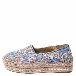 Prada Multicolor Floral Embroidered Canvas Platform Espadrille Flats Size 39 249531