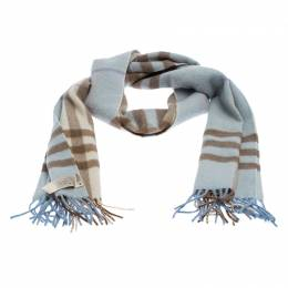 Burberry Baby Blue Checked Cashmere Scarf 246695