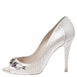 Chanel White Python CC Chain Peep Toe Pumps Size 39 248955