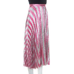 Gucci Metallic Pink Striped Pleated Midi Skirt M 249306