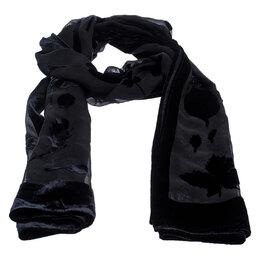 Salvatore Ferragamo Black Velvet Burnout Scarf 246904