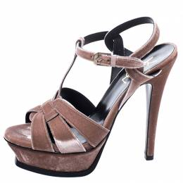 Saint Laurent Velvet Beige Tribute Platform Sandals Size 37 247162