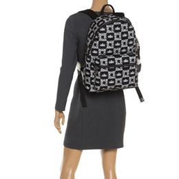 Dolce&Gabbana Black/White Logo Printed Nylon Backpack 248980