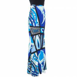 Emilio Pucci Blue Abstract Printed Jersey Flared Maxi Skirt M