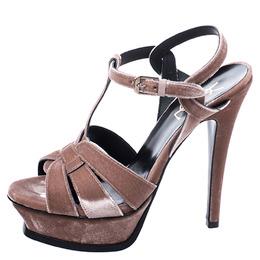 Saint Laurent Beige Velvet Tribute Platform Sandals Size 39.5 247157
