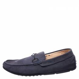 Tod's Blue Nubuck Braided Bit Loafers Size 41.5 Tod's