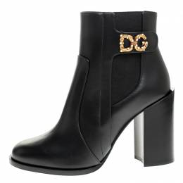 Dolce&Gabbana Black Leather Logo Detail Ankle Boots Size 39 248720