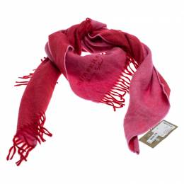 Burberry Pink Cashmere Fringe Trimmed Triangle Scarf 246837