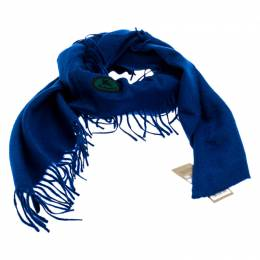 Burberry Blue Cashmere Fringe Trimmed Triangle Scarf 246840