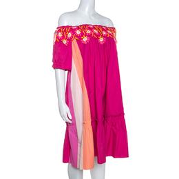 Peter Pilotto Pink Cotton Embroidery Detail Off-Shoulder Pallas Dress M 249428