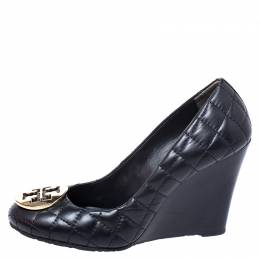 Tory Burch Black Quilted Leather Reva Logo Studded Wedge Pumps Size 37