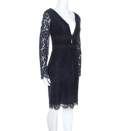 Diane Von Furstenberg Navy Blue Lace Viera Cocktail Dress M 249411