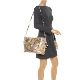 Coach Gold Monogram Leather Shoulder Bag 247055