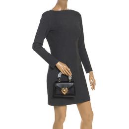 Dolce&Gabbana Black Leather Small Devotion Top Handle Bag 248829