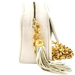 Chanel White Leather CC Tassel Charm Small Crossbody Bag 244499