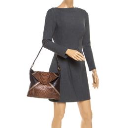 Chloe Brown Python and Leather Envelope Shoulder Bag 238480