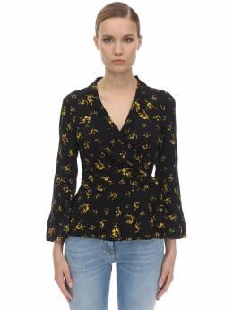 Рубашка Из Крепа С Принтом Ganni 71IRT7045-MDk50