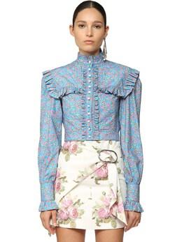 Рубашка Из Хлопка Поплин С Принтом Paco Rabanne 71IMDQ017-VjQyMQ2