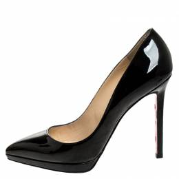 Christian Louboutin Black Patent Leather Pigalle Plato Pointed Toe Pumps Size 38.5 249914