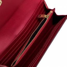Dolce&Gabbana Red Leather DG Love Continental Wallet 249267