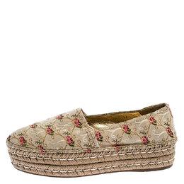 Prada Beige Floral Embroidered Canvas Platform Espadrille Flats Size 39 249526
