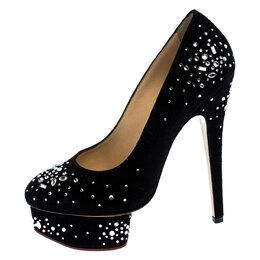 Charlotte Olympia Black Crystal Embellished Suede Dolly Platform Pumps Size 35 249441