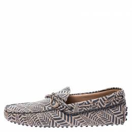 Tod's Beige and Grey Printed Leather Bow Loafers Size 42.5 Tod's