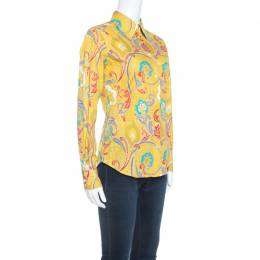 Etro Yellow Paisley Printed Stretch Cotton Long Sleeve Shirt S 249157