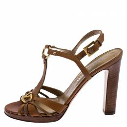 Valentino Brown Leather Logo Embellished Peep Toe Strappy Open Toe Sandals Size 37 249545