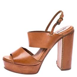 Chloe Tan Leather Platform Ankle Strap Block Heel Sandals Size 39.5 249823