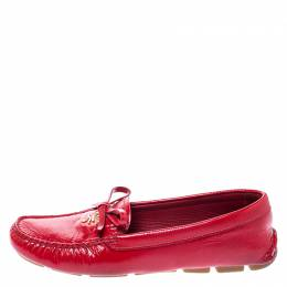 Prada Red Saffiano Patent Leather Bow Loafers Size 36.5 248964
