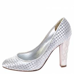 Sergio Rossi Silver Metallic Holographic Leather Pumps Size 37 248983