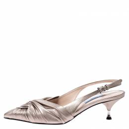 Prada Beige Metallic Pleated Leather Pointed Toe Slingback Sandals Size 38 249284