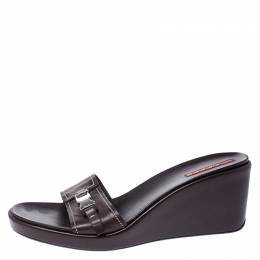 Prada Dark Brown Leather Platform Wedge Slides Sandals Size 39 249653