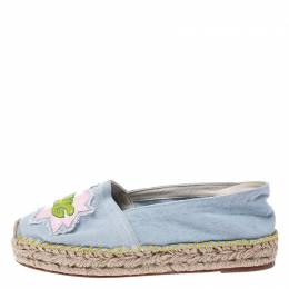 Chiara Ferragni Blue Canvas Pow Bang Espadrilles Loafers Size 41 248100