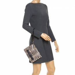 Valentino Black/Beige Python and Leather Flap Wristlet Clutch 246894