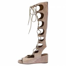 Chloe Beige Suede Gladiator Lace Up Tall Wedge Sandals Size 36 238287