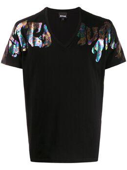 Just Cavalli футболка с V-образным вырезом и логотипом S01GC0600N20663