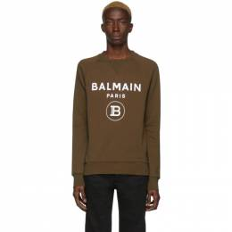 Balmain Khaki Flocked Logo Sweater TH13279I245
