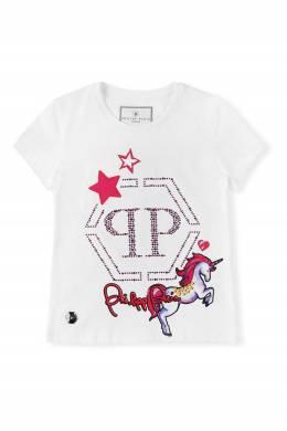 Белая футболка с единорогом Philipp Plein Kids 2714167850