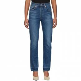 Citizens Of Humanity Blue Charlotte High-Rise Straight Jeans 1731-769