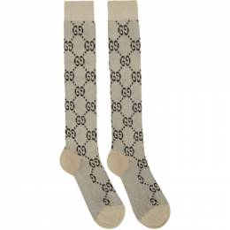 Gucci Off-White and Gold Lame GG Socks 476525 3G199