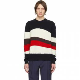 Moncler Tricolor Wool and Mohair Red Wave Sweater 9C70100A9320742
