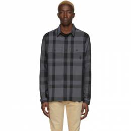 Marcelo Burlon County Of Milan Grey and Black Logo Check Shirt CMGA046R20FAB0021110
