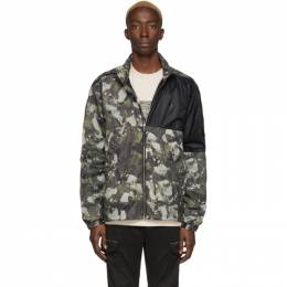 Marcelo Burlon County Of Milan Beige and Green Camo Windbreaker Jacket CMEB028R20FAB0016159