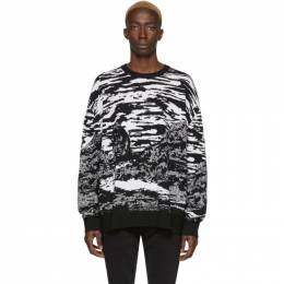 Marcelo Burlon County Of Milan Black and White Wool All Over Mountains Sweater CMHE021R20KNI0011001